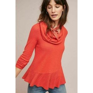 Anthropologie Maeve Winterscape Thermal Top Red